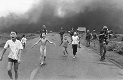 Kim Phuc, running third from left: This photograph of suffering is credited with having led directly to the end of the Vietnam war.