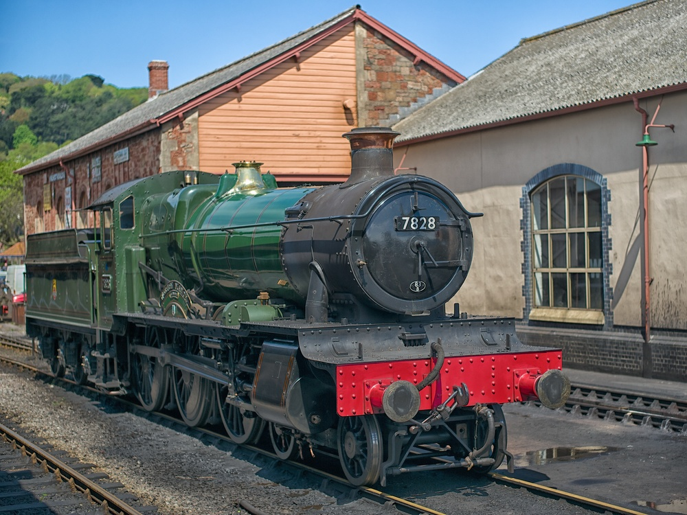 Great Western Railway Manor Class locomotive Norton Manor under steam at Minehead terminus after hauling our train from Bishops Lydeard.
