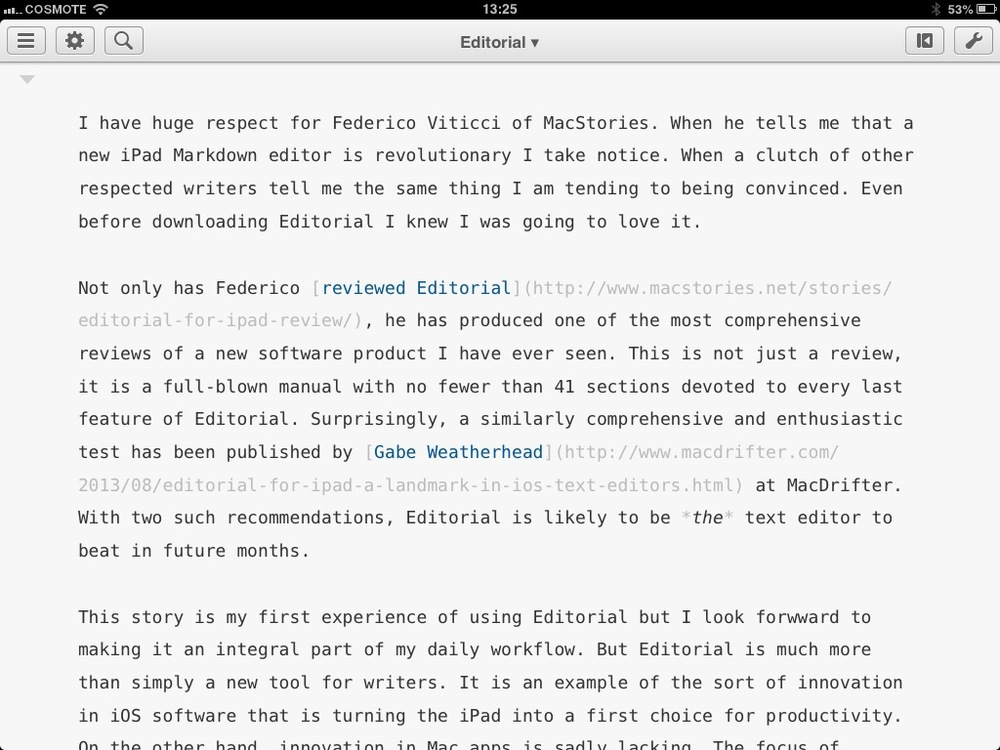 Editorial for iPad: The new app of excellence for writers