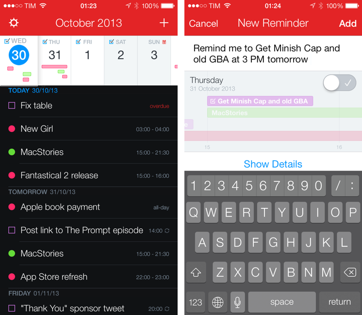Screenshots of Fantastical 2 from  Macstories