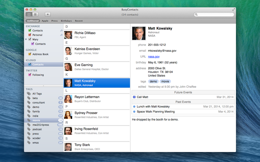 BusyContacts will offer a number of useful links to BusyCal, including the ability to record Calendar events directly into the Contacts card