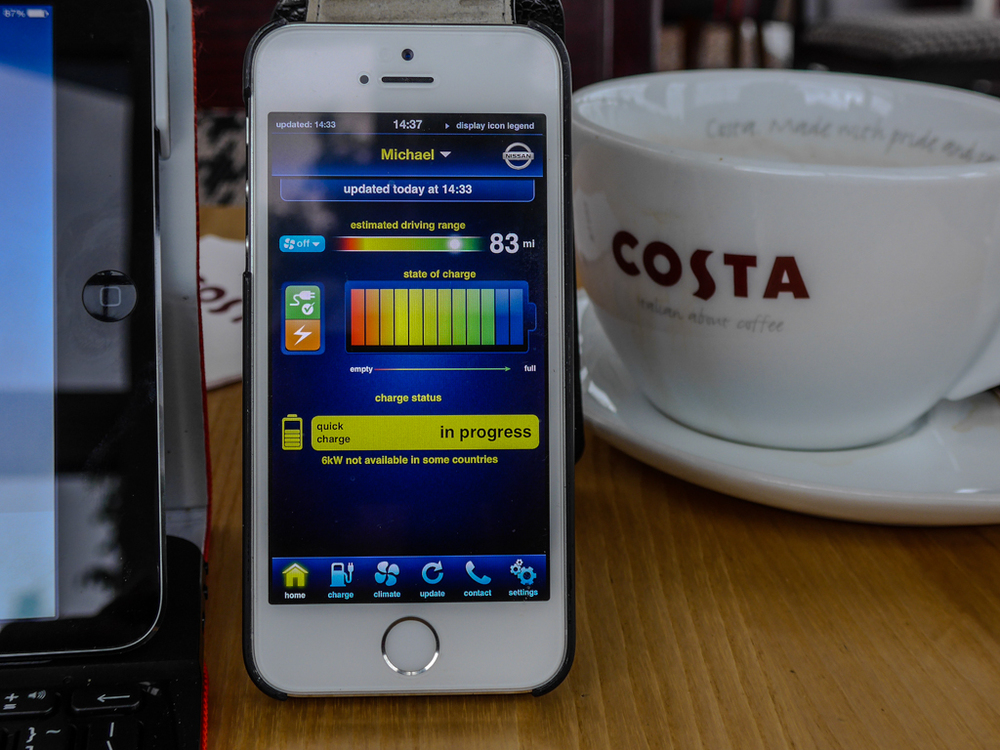 The Nissan Carwings app allows you to control charging, check on available range and fiddle with the climate control while you enjoy your coffee or cup of tea