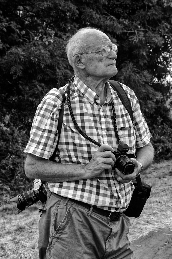 The maestro, festooned as usual and ready for action. Photo Mike Evans, Tri-Elmar at 35mm