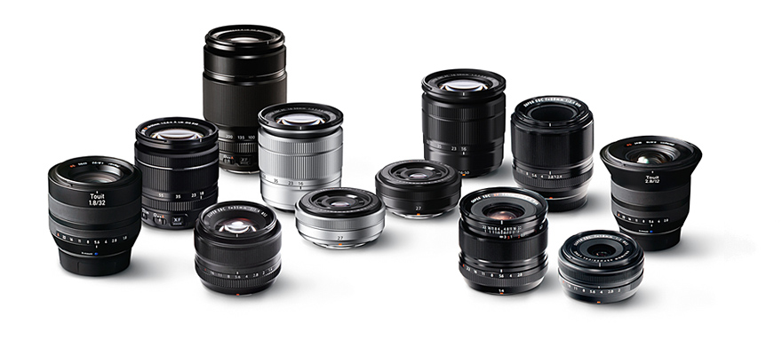 In just four years Fuji has introduced a comprehensive range of Fujinon lenses for every occasion. All are well built and have superb optics for outstanding results. The little 27mm f/2.8 has centre stage in this display. As you see, it comes in silver and black finishes