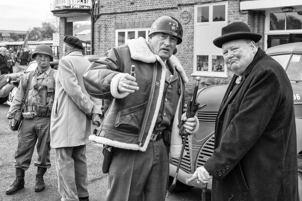 Cigars at the ready for Winston and General Patton (or is it Bradley?) with Field Marshal Montgomery addressing the hoi polloi in the background (Leica)