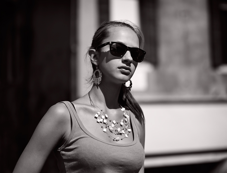 Girl With Sunglasses: Photograph by  George James , Leica Monochrom with 35mm Summilux