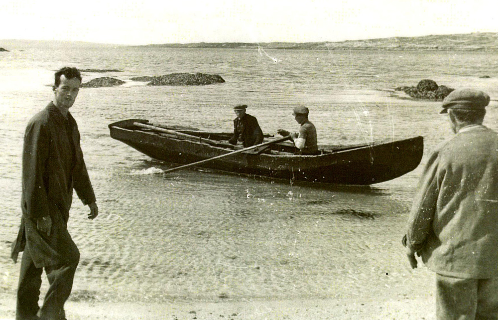 My father, Anthony Fagan, with a traditional Currach in the background