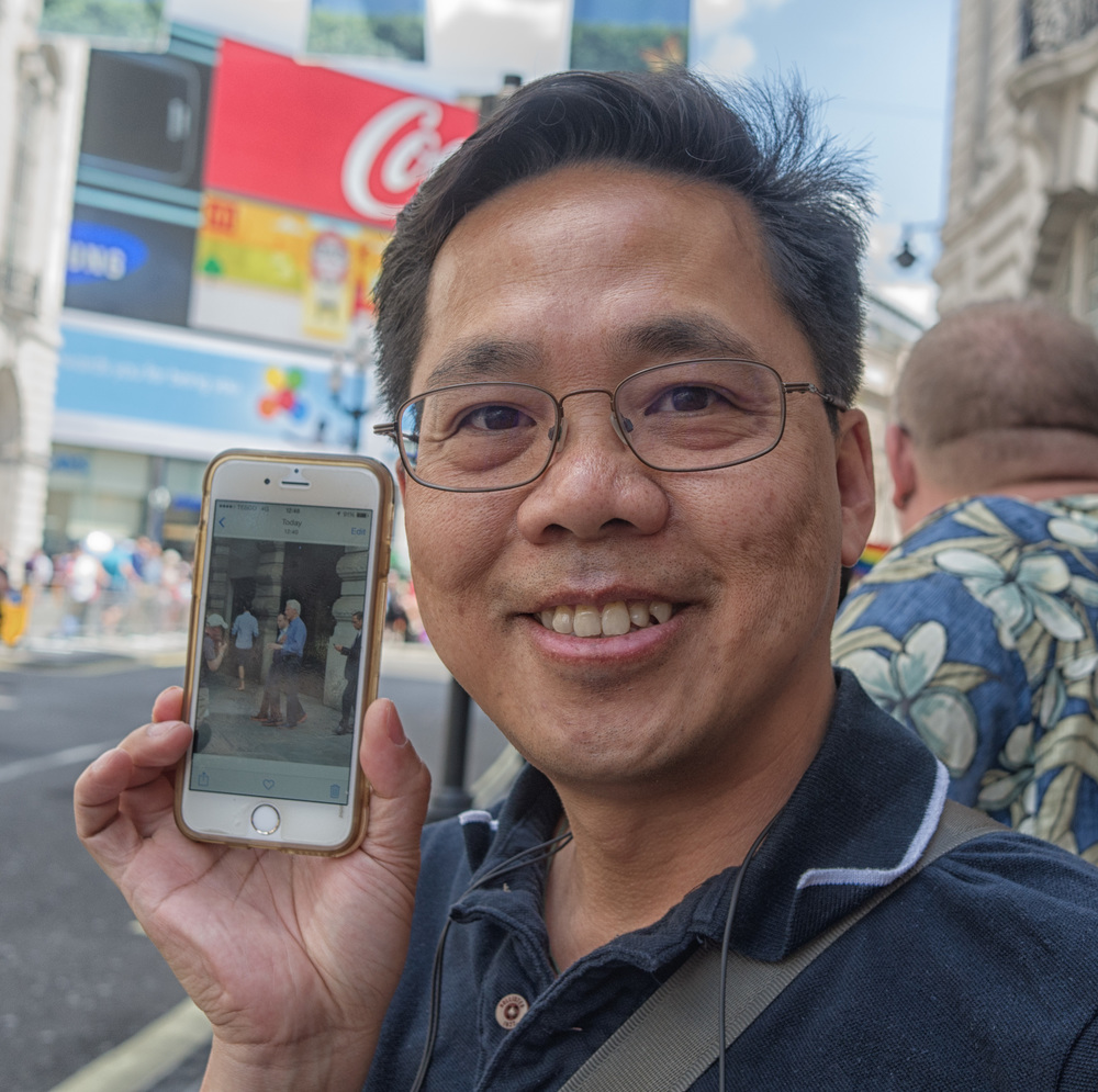 Kwai was pleased as Punch to capture the former Presidenton his iPhone (Photo, Leica X1, vintage 2010)