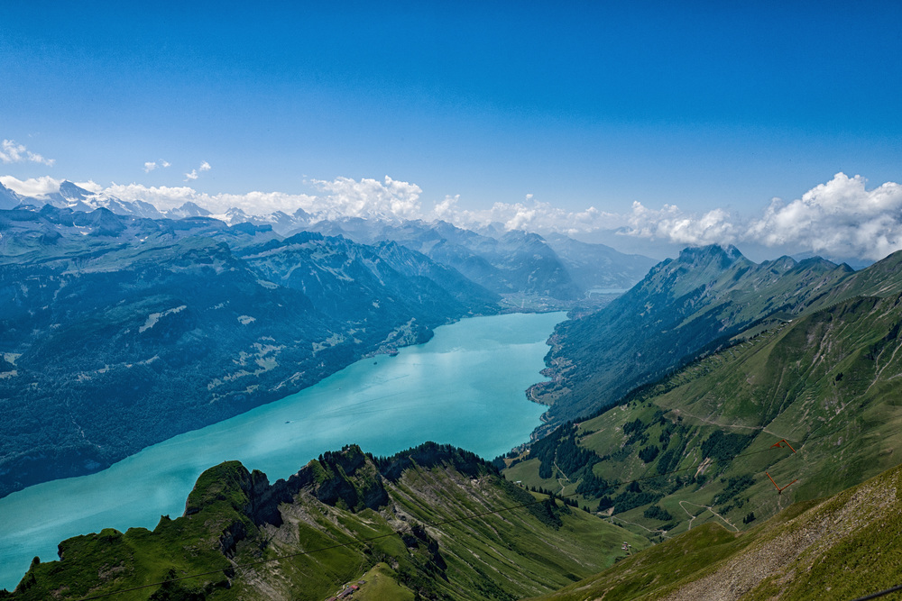 Lake Brienz and the Bernese alpsseen from the top of the Rothorn