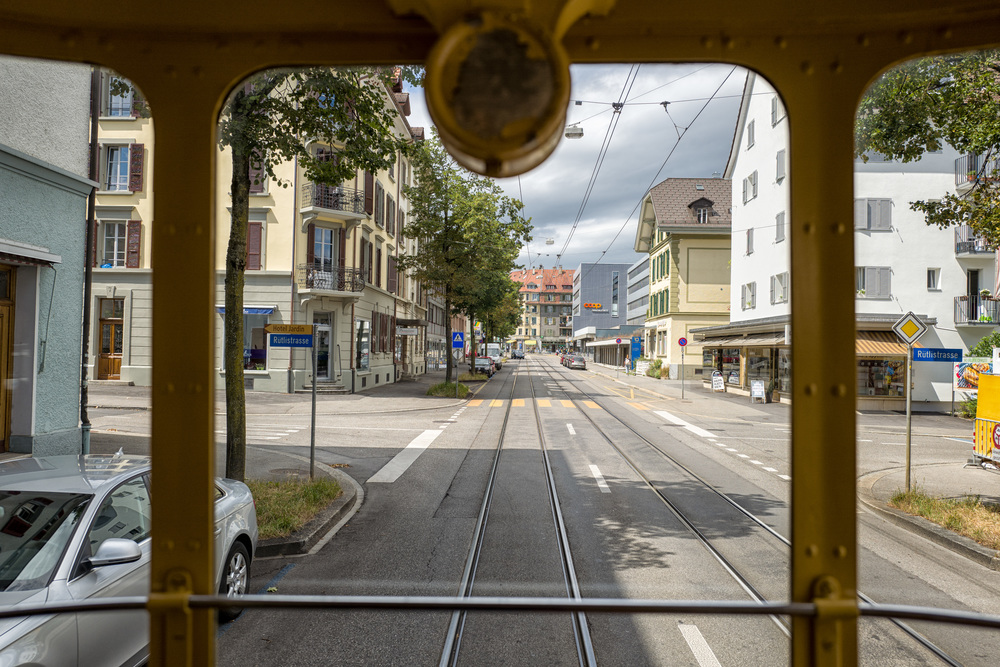 Bern streetscape from the rear trailer of the 1935 tram