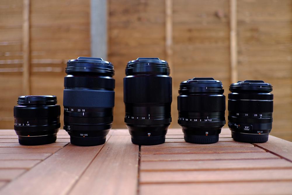 Size comparison: 35, 18-135, 90, 56, 18-55mm