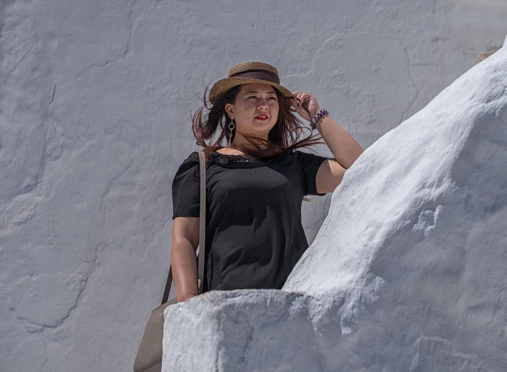 Posing at Paraportiani, Mykonos
