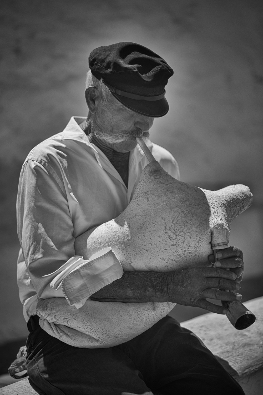 Traditional Mykonos bagpipes made from sheep