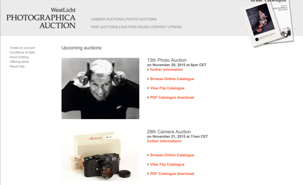 Westlicht is one of the most popular Leica auction sites