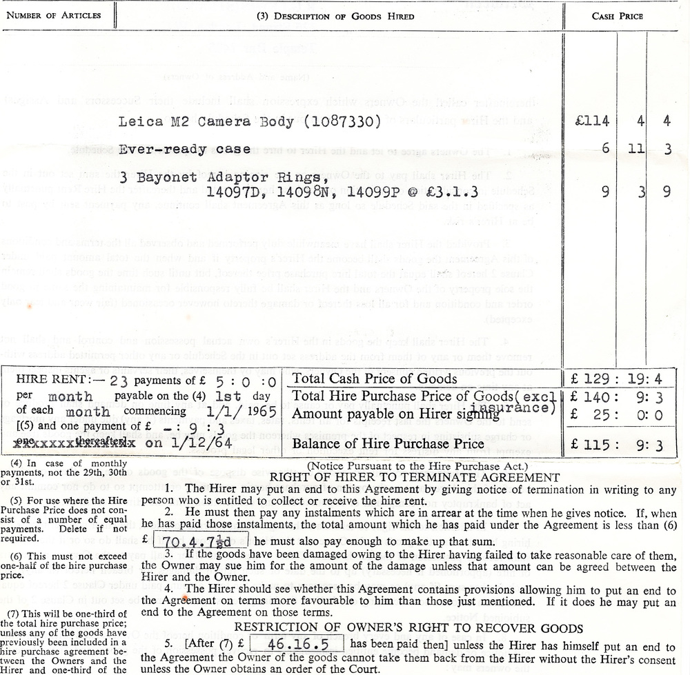 The guts of the Hire Purchase document that consigned he M2 and accessories to the new owner, Peter M: Note the reference to £70.4s 7½d (seventy pounds, four shillings and sevenpence ha