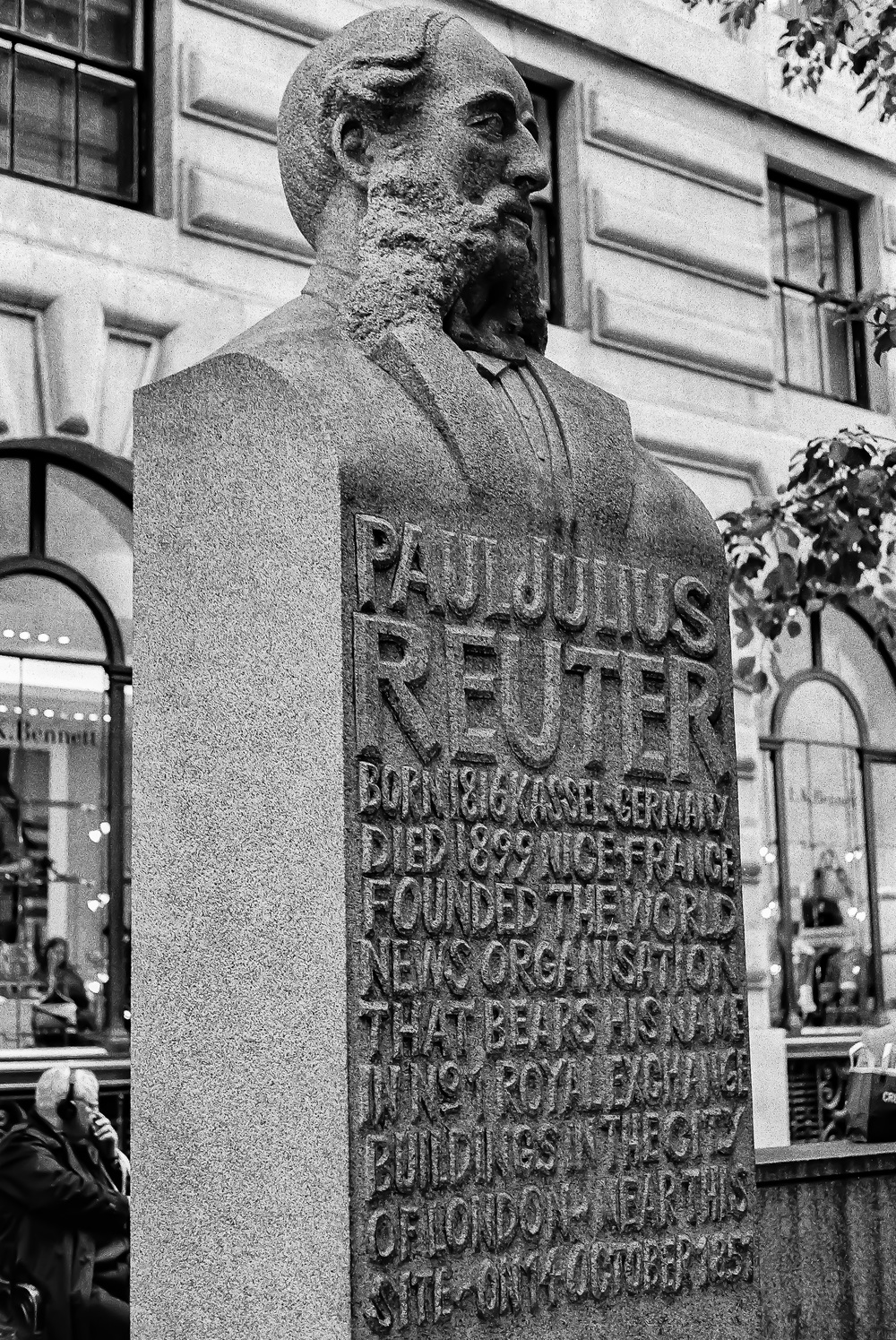 Paul Julius Reuter, father of news gathering, fittingly stands sentinel outside Leica