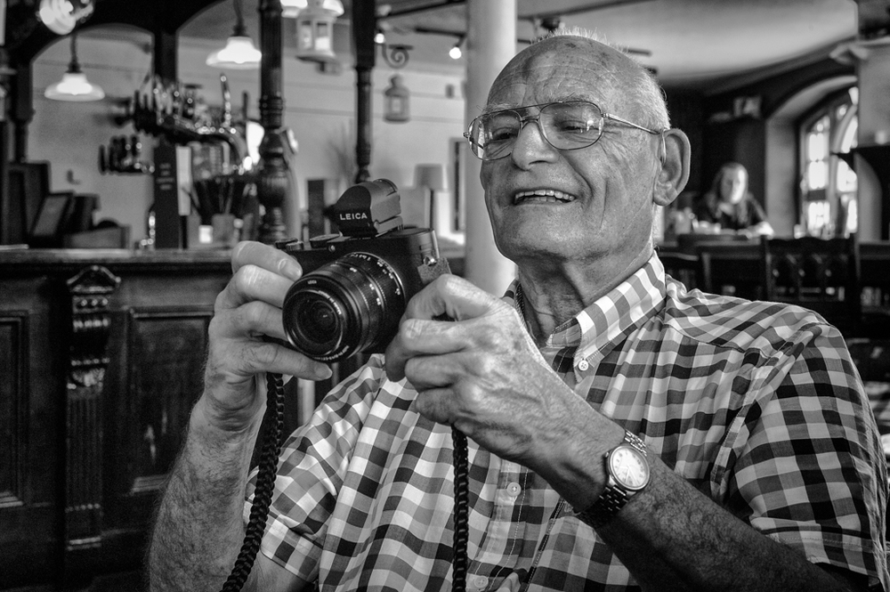 The author with some more modern Leica gear (photo Mike Evans)