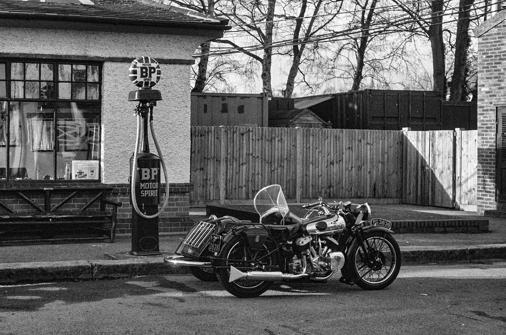 The real McCoy: 1936 Brough Superior motorcycle captured by a 1936 Leica III camera and 5cm Elmar lens (Photo Mike Evans)