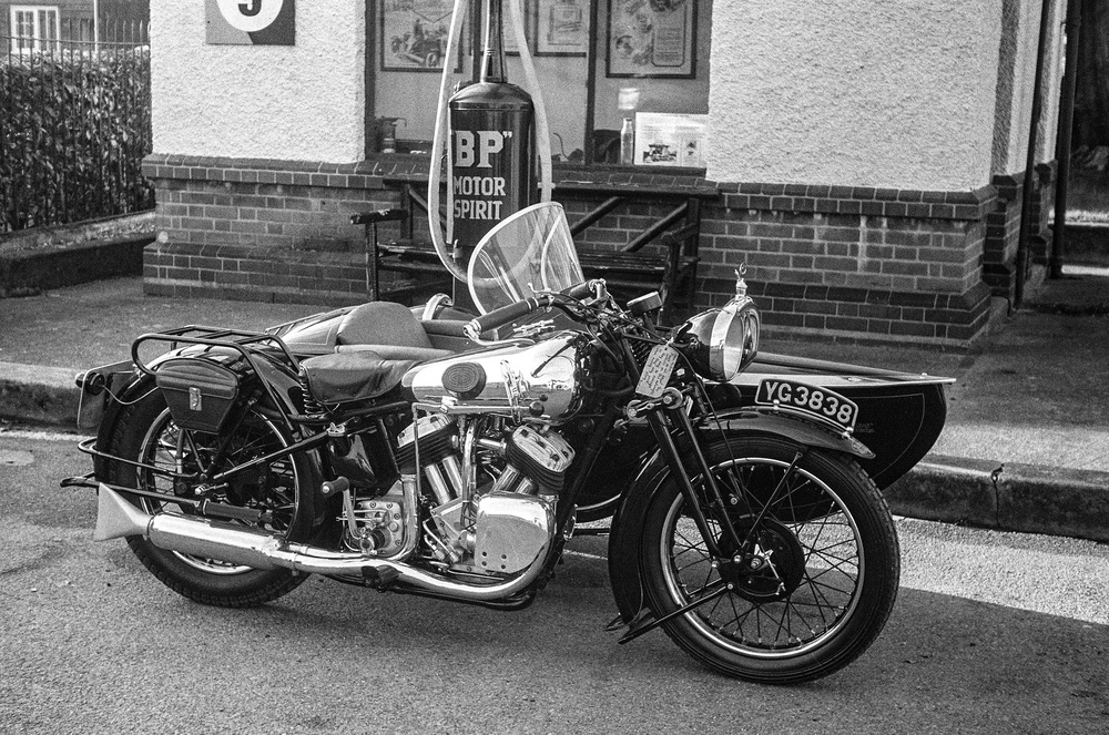 A 1935 Brough Superior taken with a 1935 Leica III, two of Robert White