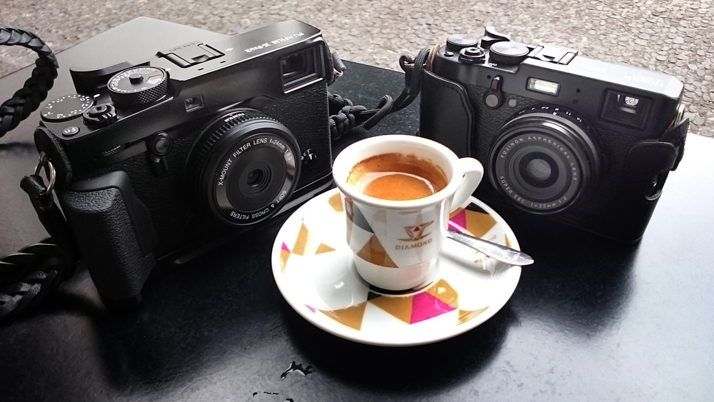 Fuji X-Pro2 and X100T, both with wi-fi capability (taken with my Sony phone)