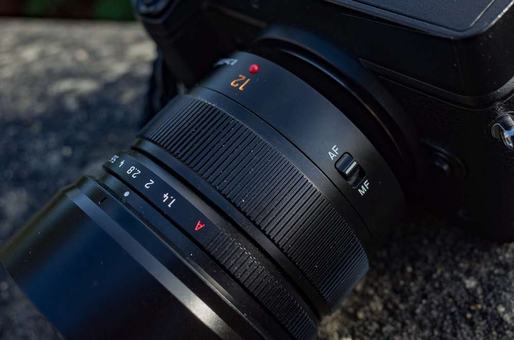 Red Dot, Leica-like 1/3-stop aperture ring, unstopped whirligig focus ring and AF-MF manual switch.