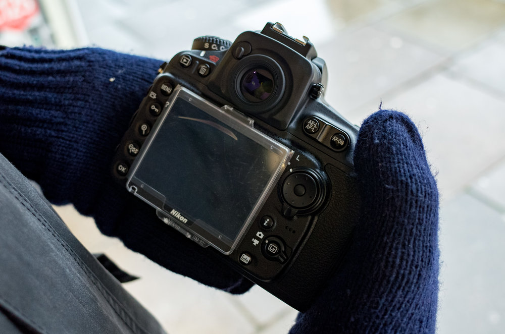 Above: The D810 has the grip for big hands but just look at those tiny buttons. The SL, in contrast, is a paragon of usability. Keep your hands warm all day and you won