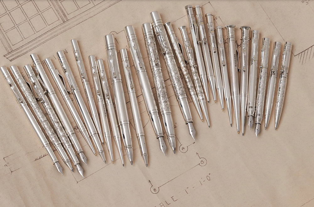 The full range of silver propelling pencils is complemented by matching ballpens and fountain pens, all hand made at the Yard-O-Led factory in Birmingham.