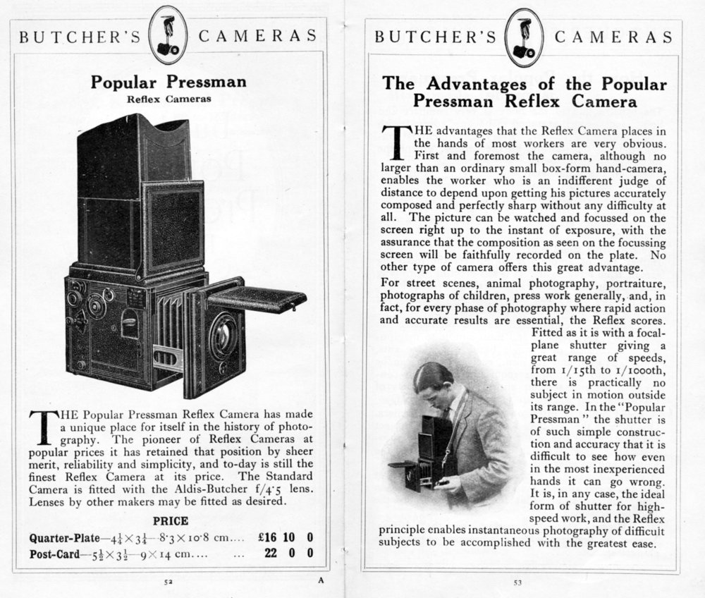 [Fig.3] Butcher's cashed in on the plate SLR's popularity with Press Photographers when they imported the ICA Reflex which they sold as the Popular Pressman.