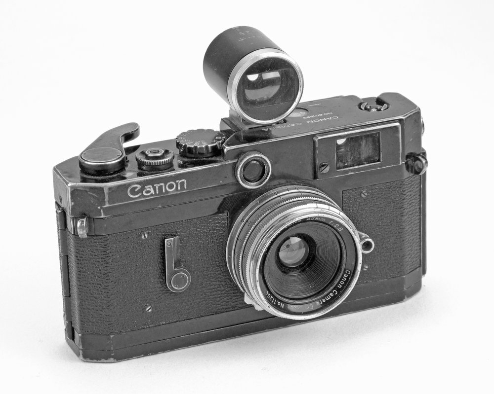 [Fig.18] Black Canon 6L camera with 28mm f/2.8 lens and viewfinder.