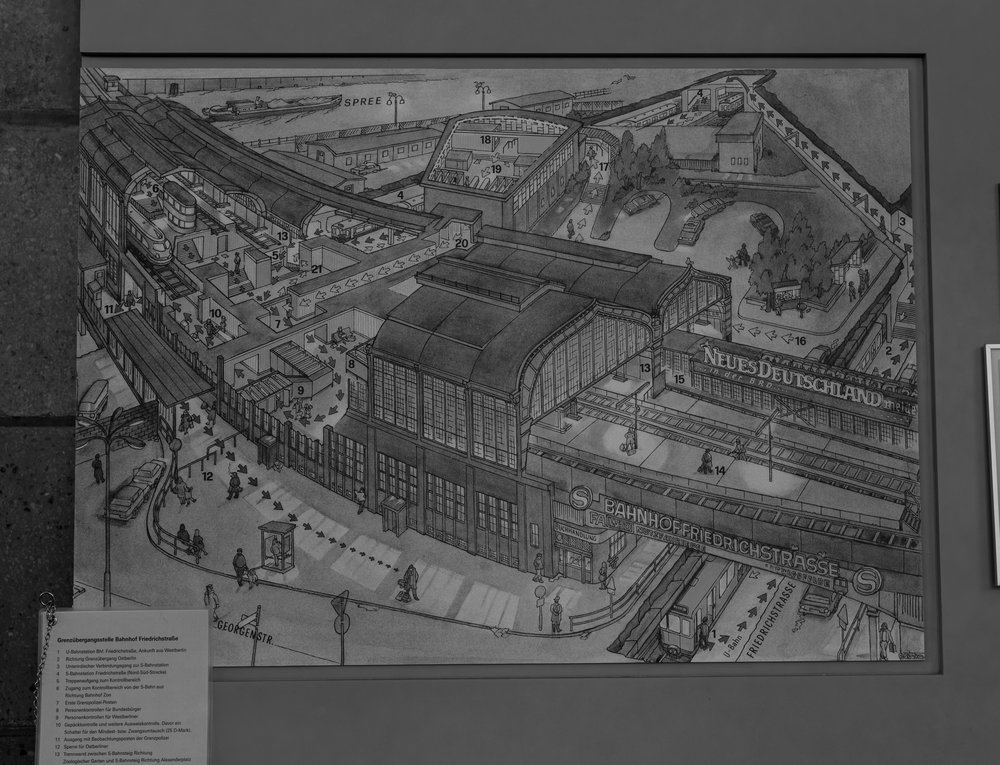Navigating the complexity of Friedrichstraße station and the Palace of Tears (centre top):All the obedient border crossers wending their way to the decadent west like tiddlewinks on a snakes & ladders board. Only such wending was not possible for the vast majority of GDR citizens — until they got too old to be of any more use to the state
