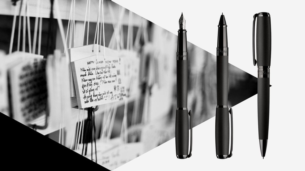 A trio of pens to add to your boutique cabinet: Fountain pen at £640, rollerball at £530 and ballpen at £400. Lens