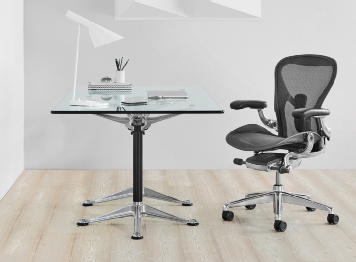 A spiffier version of the cult Herman Miller Aeron Task Chair, with chrome bits and, no doubt, more expensive than my all-black model. And I don