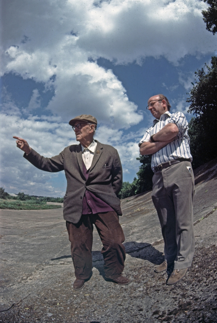 Bob Dicker and Jim Young on the Brooklands banking. Bob is wearing his Brooklands Gold Star which was awarded for lapping a Zenith motorcycle at over 100 mph. While it was called a