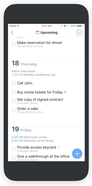The very useful Upcoming view here shown on the iPhone. Note the Magic Plus button for adding date or project populated tasks anywhere in the system
