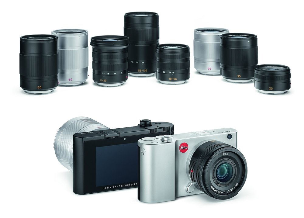 The system: In the background are the 60mm macro lens in two finishes, the trio of zooms (11-23mm Super-Vario-Elmar-TL, 55-135mm APO-Vario-Elmar-TL and 18-56mm Vario-Elmar-TL), the 35mm Summilux in two finishes and the 23m Summicron
