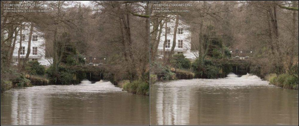 24mm f/16 100% comparison. TL 18-56 left, 24 Summilux right.