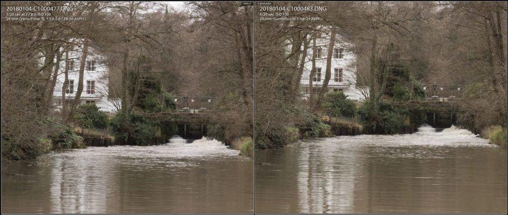 24mm f/8 100% comparison. TL 18-56 left, 24 Summilux right.