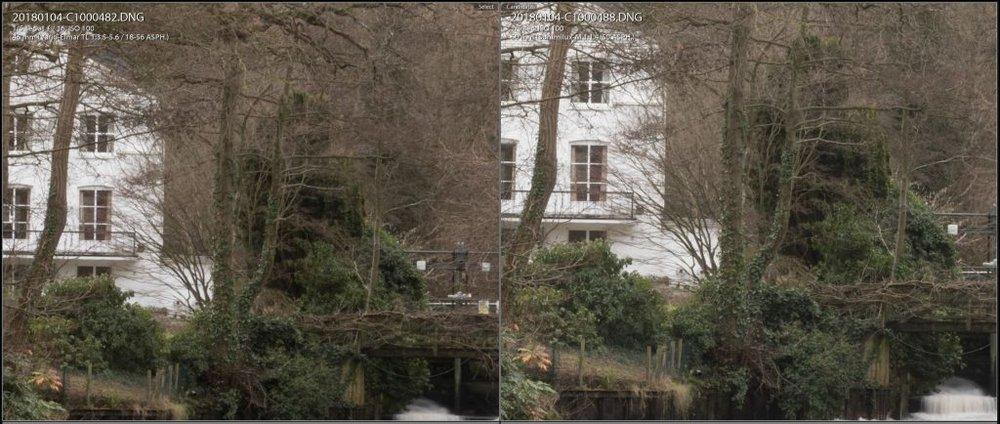 50 f/16 100% comparison. 18-56 TL left, 50mm Summilux right.