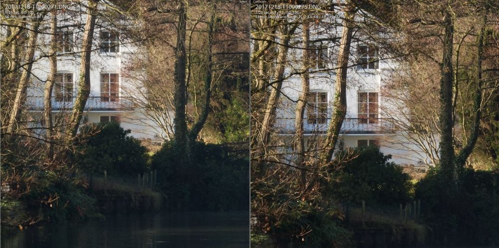 1-1 crop: 50mm f/11 comparison. Summilux on the left, 55-135 TL on the right