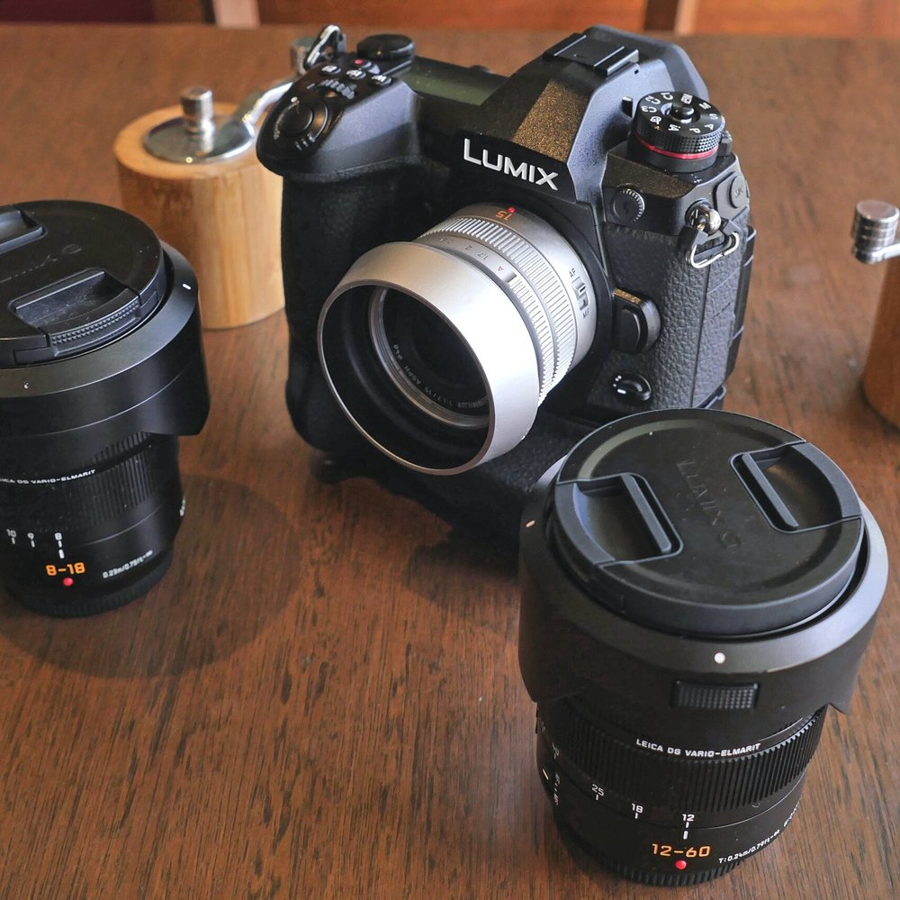 The G9 and my family of Leica-branded micro four-thirds lenses: A premium set befitting a premium camera. Image GX8 and Sigma 30mm f/1.4