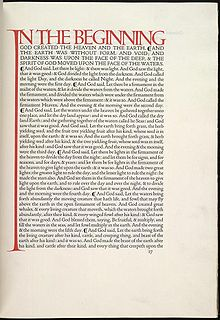 The opening of Genisis in the Dove Press English Bible is considered to be one of the world