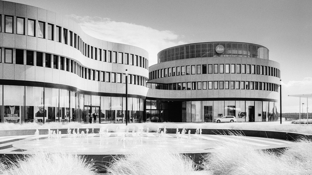 The main building at Leitz Park. Leica M6 TTL with 35mm Summilux, f/5.6 at 1/500s, Kodak Tri-X 400 and orange filter