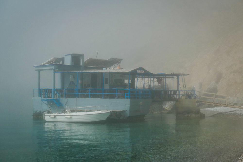 Sweetwater Beach - the Mermaid Taverna in the mist (ISO 125 1/1000th f7.1 67mm Leica C-Lux)