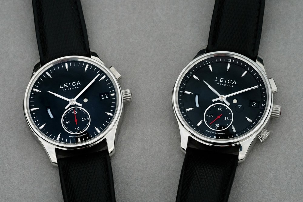 The L1, left, has a 60-hour power reserve while the L2, right, adds GMT time-zone functions