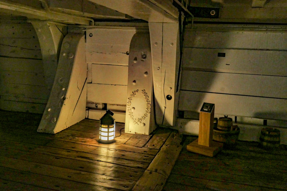 Poor Nelson died on this spot, having been shot as he conducted operations on the top deck, but not before he