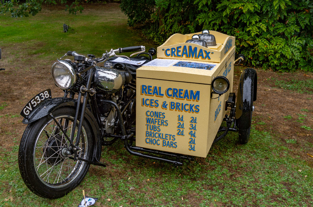 Stop me and buy one: George Brough might not have envisaged his powerful vee-twin hitched to an ice-cream sidecar, but there