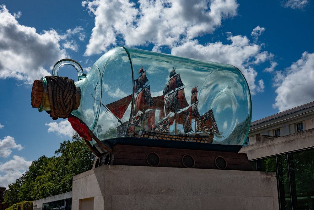 A colourful HMS Victory all bottled up: 1/1600s, f/5.6, 45mm. Now in Greenwich, this is a former Fourth Plinth exhibit in Trafalgar Square, London