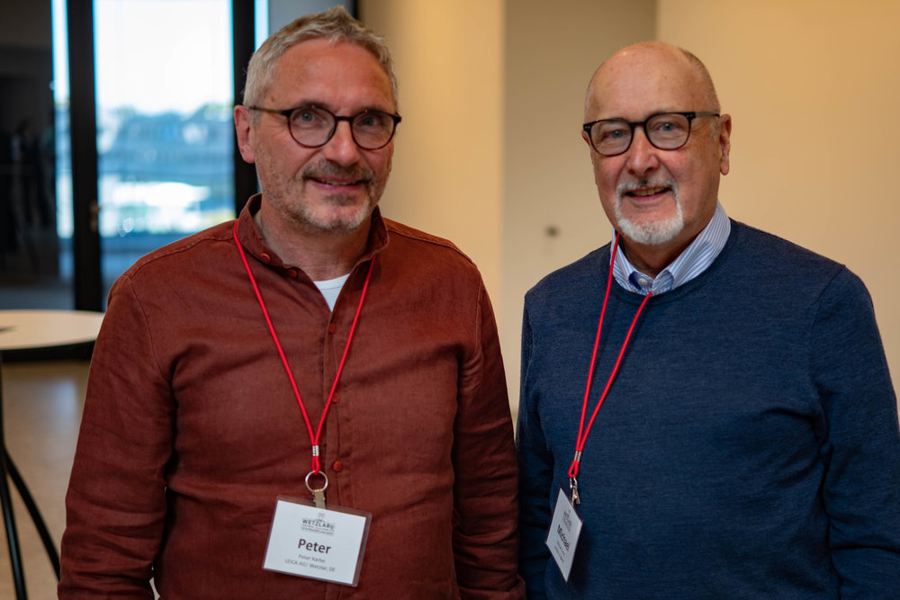 Mike with Peter Karbe, the man responsible for the design of almost all modern Leica lenses