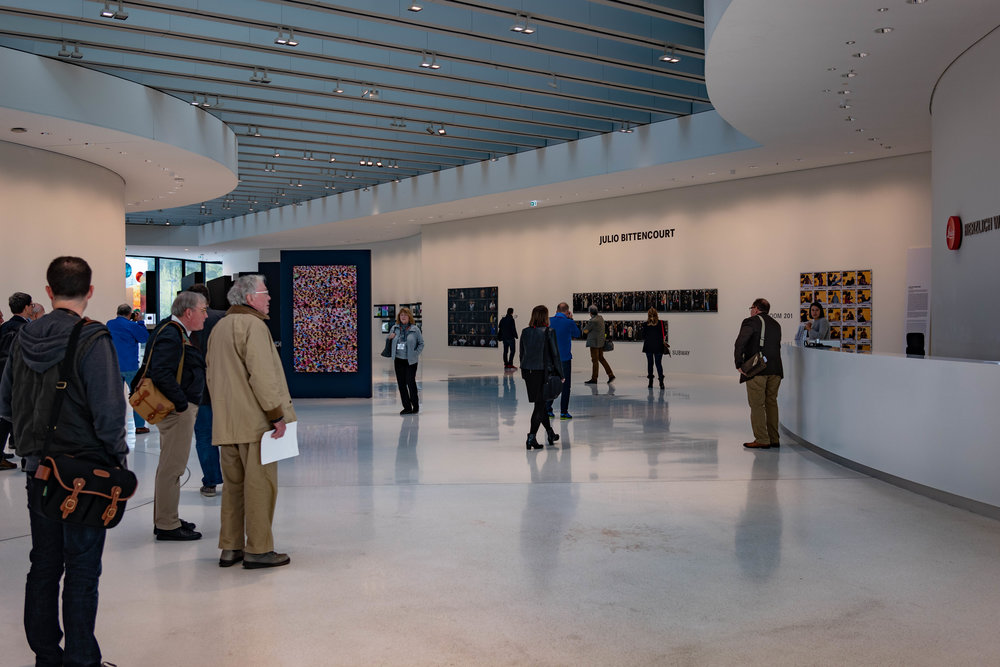 Entering the main reception and gallery area at Leitz Park