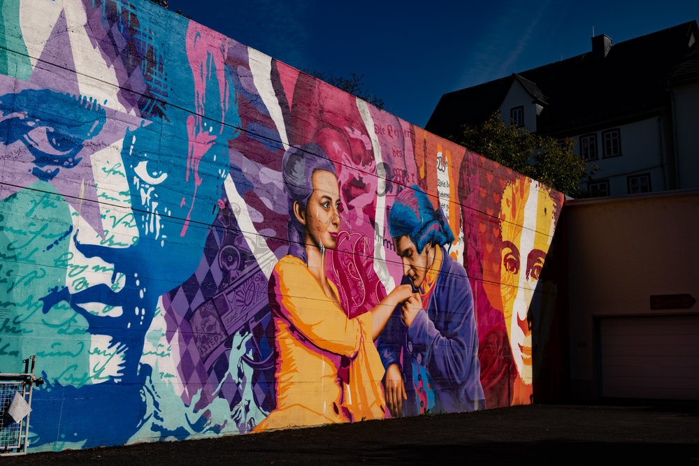 Goethe meets Bollywood: This striking, if rather bold mural in Wetzlar depicts the moment Johann Wolfgang von Goethe, spending a few months in Wetzlar in 1774, fell for the charms of local girl Charlotte. It was an unrequited love, and young Johann went off to write his loosely biographical seminal novel,  Die Leiden des jungen Werthers  (The Sorrows of Young Werther).
